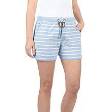 Blend She Kira Damen Sweatshorts Bermuda Shorts Kurze Hose Mit Fleece-Innenseite Und Streifen-Muster Regular Fit, Größe:XXL, Farbe:Skyway (20241)