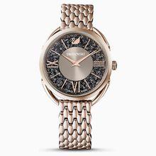 Crystalline Glam Uhr, Metallarmband, grau, Champagne vergoldetes PVD-Finish