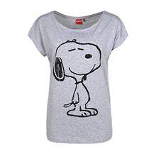 Sublevel Damen T-Shirt Oversize mit Snoopy Aufdruck | Frauen Shirt Einfarbig mit Print Kurzarm | Logo Print Light-Grey XL