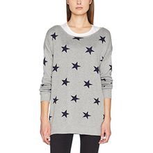VERO MODA Damen Pullover Vmdotty Oversize Boatneck Knit Rep, Grau (Light Grey Melange Detail:W. Navy Blazer Star), Small