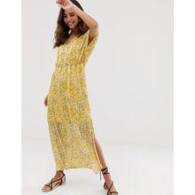 Vero Moda - Transparentes Maxikleid mit Streifen-Blumenmuster - Gelb