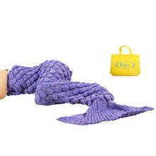 Yier® Mermaid Schwanz Erwachsene Decke häkeln Teens Jugendliche Wohnzimmer Sofa super weiche Decken Schlafsäcke-Lila