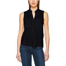 VERO MODA Damen Top Vmerika S/L Solid Shirt Noos, Schwarz (Black Black), 40 (Herstellergröße: L)