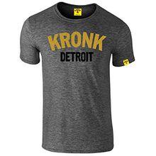 KRONK Detroit Boxing Gym 2 Colour Men's Slimfit t Shirt Heather Charcoal Large