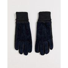 Dents – Kendal – Handschuhe aus Wildleder in Marineblau mit kontrastierenden Bündchen-Navy