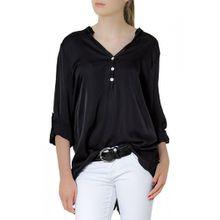 CASPAR Damen Kurzarm / Langarm Satin Bluse / Hemdbluse mit Seidenglanz - viele Farben - BLU003, Farbe:schwarz