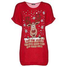 Be Jealous Damen Weihnachten Schneemann tanzende Rentier Weihnachten übergroßer Baggy-Stil T-Shirt UK Übergröße 8-22 - Rentier Wall rot, Plus Size (UK 16/18)