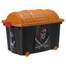 BA4A - 100L Aufbewahrungsbox Aufbewahrungskiste Aufbewahrung Schatztruhe Spielekiste Kiste Box mit Räder und Deckel #042293 (Piratenbox)