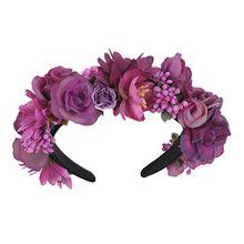 Trachten Blumenkranz Haarreif Blumen Haare Haarband Haarschmuck Hochzeit Oktoberfest - Pink