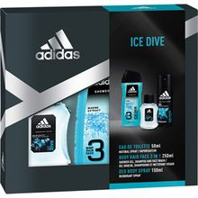 adidas Herrendüfte Ice Dive Geschenkset Eau de Toilette Spray 50 ml + Body Hair Face 3 in 1 250 ml + Deo Body Spray 150 ml 1 Stk.