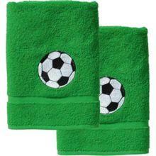myToys Handtuch 2er Set, je 50 x 100 cm, Fußball, grün