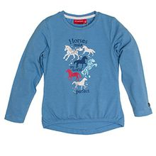SALT AND PEPPER Mädchen Langarmshirt Longsleeve Horses My World, Blau (Blue Melange 418), 116