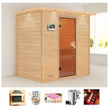 KONIFERA Sauna »Borkum«, BxTxH: 224x160x202 cm, 3,6 kW Bio-Kombiofen, ext. Steuerung