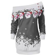 CharMma Damen Weihnachten Pullover Langarmshirt Santa Claus und Schnee Druck Sweatshirt (Grau, L)