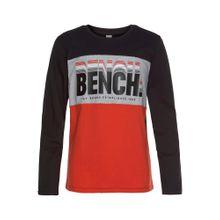 BENCH Langarmshirt grau / schwarz