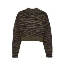 Proenza Schouler Cropped Pullover aus Jacquard-Strick im Tiger-Look
