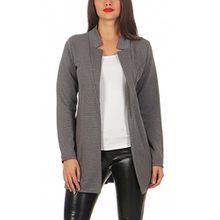 Damen lang Blazer mit Taschen ( 573 ), Farbe:Grau, Blazer 1:44 / XXL