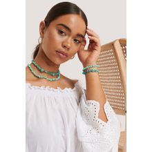 NA-KD Accessories Kurze Doppelte Halskette Mit Schuldplatt-Detail - Turquoise