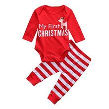 Kobay Weihnachten Neugeborene Baby Mädchen Jungen Outfits Kleidung 2 Stücke Deer Romper + Hosen Set (70/3 Monat, Rot)
