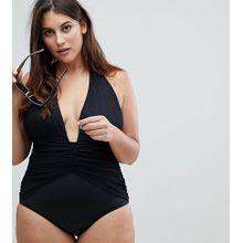 ASOS DESIGN - Curve - Tief ausgeschnittener Badeanzug mit geraffter Taille - Schwarz