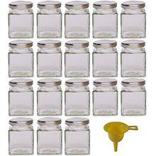 Viva Haushaltswaren - 18 x kleines Marmeladenglas / Gewürzglas 106 ml mit silberfarbenem Schraubverschluss, Gläser Set mit Deckel als Einmachgläser, Vorratsdose etc. verwendbar (inkl. Trichter)