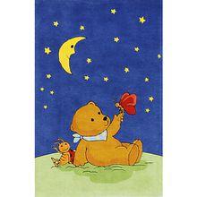 Kinderteppich Mondbär mit Schmetterling blau