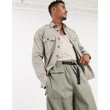 ASOS DESIGN – Hemdjacke mit zwei Taschen in Ecru-Cremeweiß