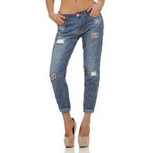 Rock Angel Damen Boyfriend Jeans Hose Rosie LRA-072 destroyed middle blue L