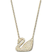 Swan Halskette, weiss, vergoldet