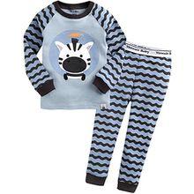Vaenait Baby Kinder Jungen Nachtwaesche Schlafanzug-Top Bottom 2 Stueck Set Blue Rookie XL