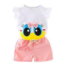 Blaward Baby Mädchen Sommer Kleidungs Outfits Baumwolle Shorts Cartoon große Augen niedlich Bogen Knoten Tops und kurze Hosen