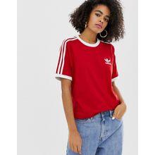 adidas Originals - adicolor - Rotes T-Shirt mit drei Streifen - Rot