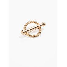 Twisted Circle Bar Brooch - Gold