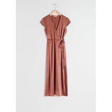 Satin Midi Wrap Dress - Orange