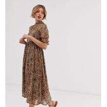 Y.A.S Petite - Kleid mit Animal-Print - Braun