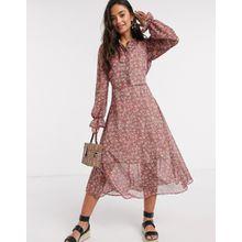 New Look – Blusenkleid aus Chiffon mit Puffärmeln in Rosa geblümt