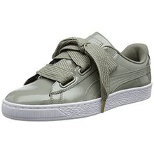 Puma Damen Basket Heart Patent Low-Top Sneaker, Grau (Rock Ridge), 42.5 EU