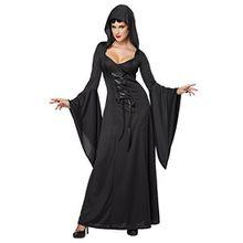 Generique Schwarzes Hexen-Kostüm für Damen zur Halloween-Party M