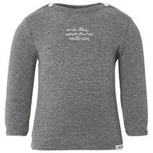 Noppies Unisex Baby T-Shirt U Tee LS Puck Text, mit Print, Gr. 68, Grau (Anthracite Melange C247)