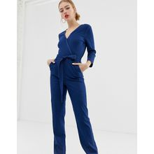 Only - Jeans-Jumpsuit mit Wickeldesign vorn - Blau