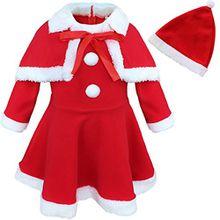 Tiaobug Baby Mädchen Kleidung Winter Warme Festlich Weihnachten Kleid Weihnachtskostüm Weihnachtskleid + Weihnachtsmütze + Umhang Rot 92-98 (Herstellergröße: 95)