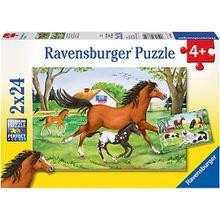 2er Set Puzzle, je 24 Teile, 26x18 cm, Welt der Pferde