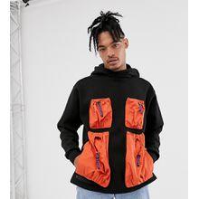 LYPH – Oversized-Kapuzenpullover mit kontrastierenden Utility-Taschen-Schwarz
