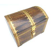 73GS Truhe mit Schloss Holztruhe Schatzkiste Schatztruhe Truhe Box Holzbox Geschenk Deko Geburtstag Hochzeit Kiste Aufbewahrung verschließbar abschließbar mit Deckel