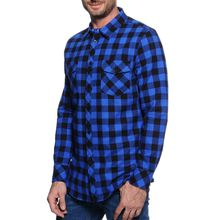Mishumo Flanellhemd Regular Fit in blau für Herren