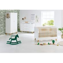 Pinolino Komplett Kinderzimmer Pan, extrabreit, weiß lackiert, Eiche, 70 x 140 cm