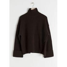 Oversized Side-Slit Turtleneck - Brown