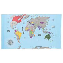 Weltkarte zum Freirubbeln 88x52 cm mehrfarbig