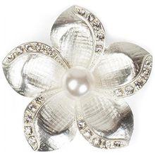 styleBREAKER Blüten Magnet Schmuck Anhänger mit Strass besetzt für Schals, Tücher oder Ponchos, Brosche, Damen 05050033, Farbe:Silber