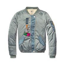 Scotch & Soda R'Belle Mädchen Jacke Teddy Satin Bomber Jacket, Blau (North Sea 487), 164 (Herstellergröße: 14)